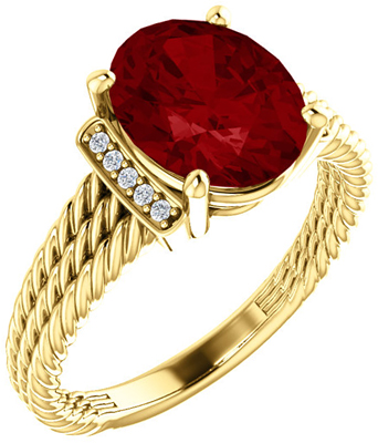Very Nice 14 Karat Yellow Gold Genuine Chatham Created Ruby & .04 Carat Total Weight Diamond Ring