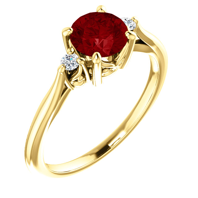 Great Deal in 14 Karat Yellow Gold Genuine Chatham Created Created Ruby & .06 Carat Total Weight Diamond Ring