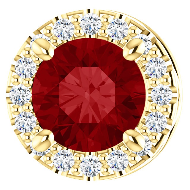 Eye Catchy 14 Karat Yellow Gold Chatham  Created Ruby & .07 Carat Total Weight Diamond Pendant Slide