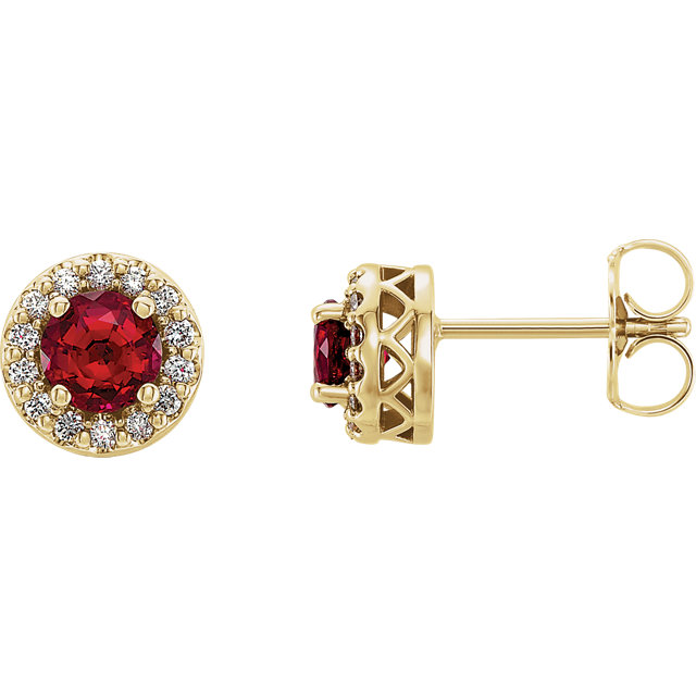 Contemporary 14 Karat Yellow Gold Genuine Chatham Created Created Ruby & .08 Carat Total Weight Diamond Earrings
