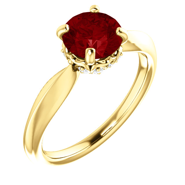 Spectacular 14 Karat Yellow Gold Chatham Created Ruby & 1/10 Carat Total Weight Diamond Ring