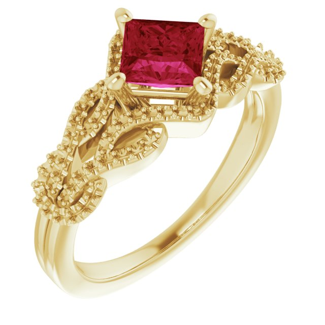 Created Ruby Ring in 14 Karat Yellow Gold Chatham Created Ruby & 0.20 Carat Diamond Ring