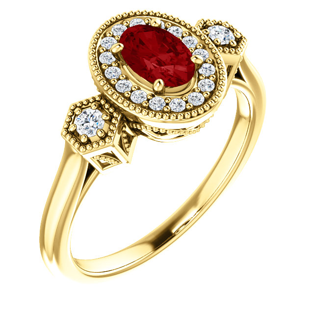 Surprise Her with  14 Karat Yellow Gold Genuine Chatham Created Created Ruby & 0.17 Carat Total Weight Diamond Ring