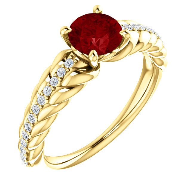 Perfect Jewelry Gift 14 Karat Yellow Gold Genuine Chatham Created Created Ruby & 0.12 Carat Total Weight Diamond Ring