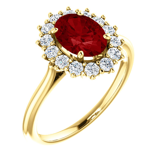 Gorgeous 14 Karat Yellow Gold Genuine Chatham Created Created Ruby & 0.40 Carat Total Weight Diamond Ring