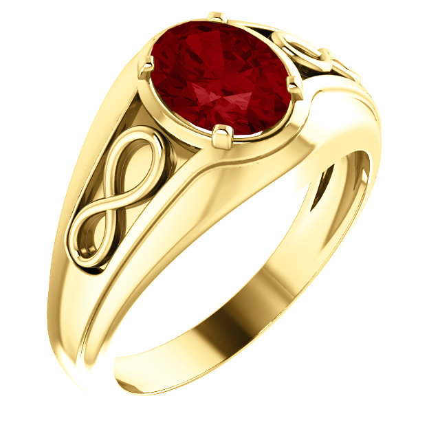 Good Looking 14 Karat Yellow Gold Chatham Created Ruby Infinity-Inspired Men's Ring