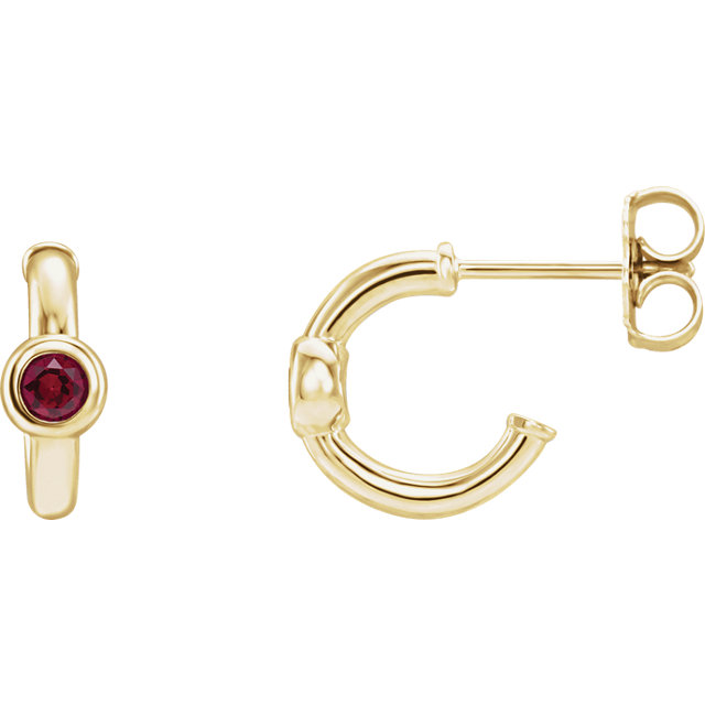 Low Price on Quality 14 KT Yellow Gold Genuine Chatham Created Created Ruby J-Hoop Earrings