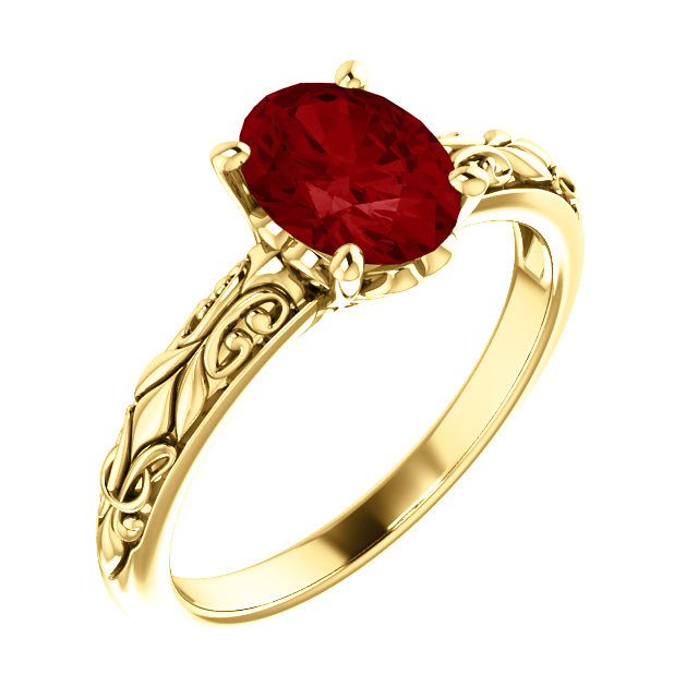 Easy Gift in 14 Karat Yellow Gold Genuine Chatham Created Created Ruby Ring