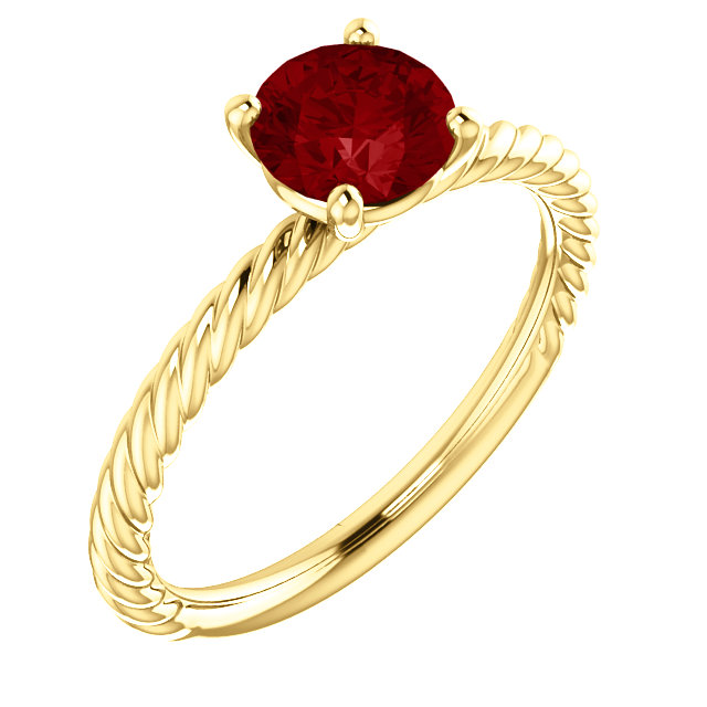 14 Karat Yellow Gold Genuine Chatham Ruby Ring