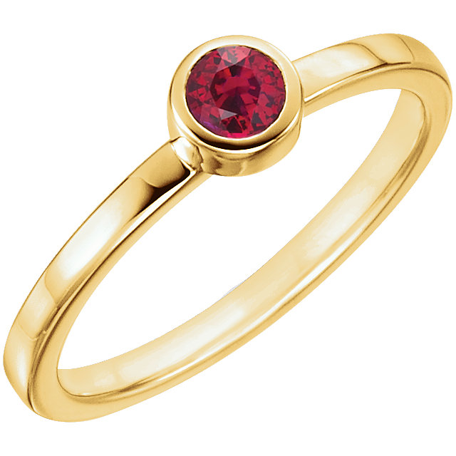 Contemporary 14 Karat Yellow Gold Genuine Chatham Created Created Ruby Ring