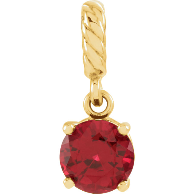 Jewelry Find 14 KT Yellow Gold Genuine Chatham Created Created Ruby Rope Pendant