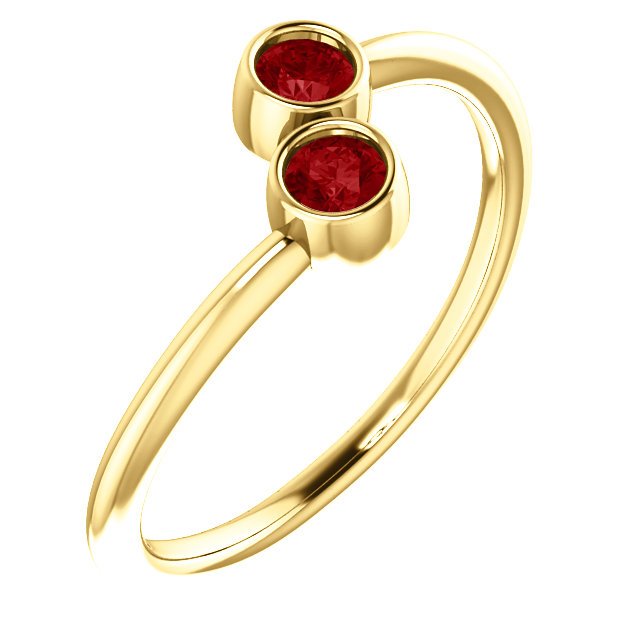 Genuine  14 Karat Yellow Gold Genuine Chatham Ruby Two-Stone Ring