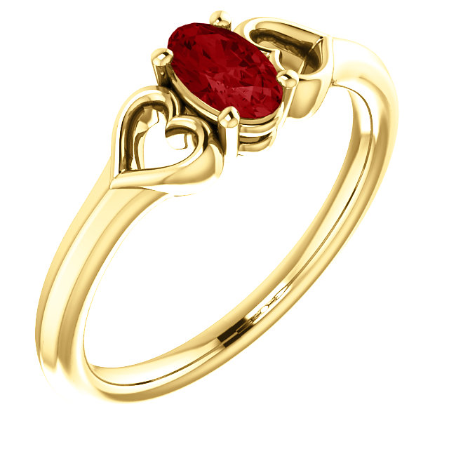 Very Nice 14 Karat Yellow Gold Genuine Chatham Created Created Ruby Youth Heart Ring
