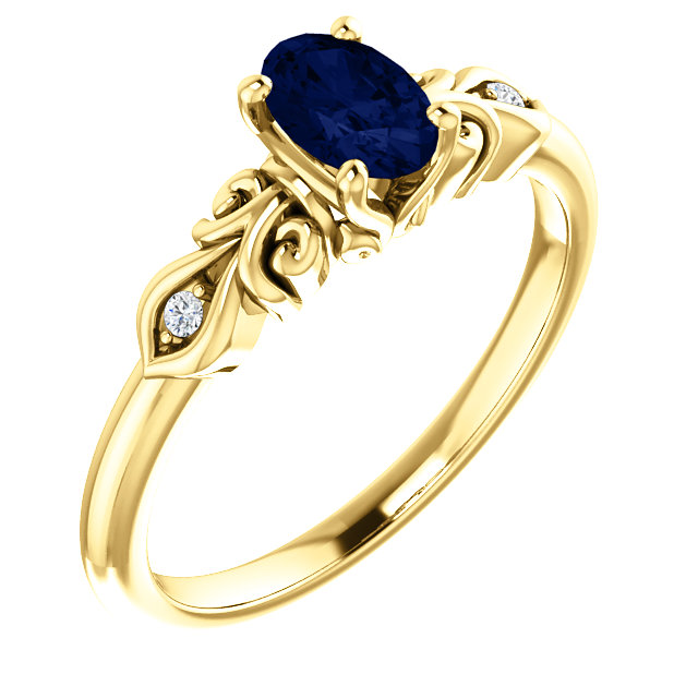 14 Karat Yellow Gold Genuine Chatham Sapphire & .02 Carat Diamond Ring