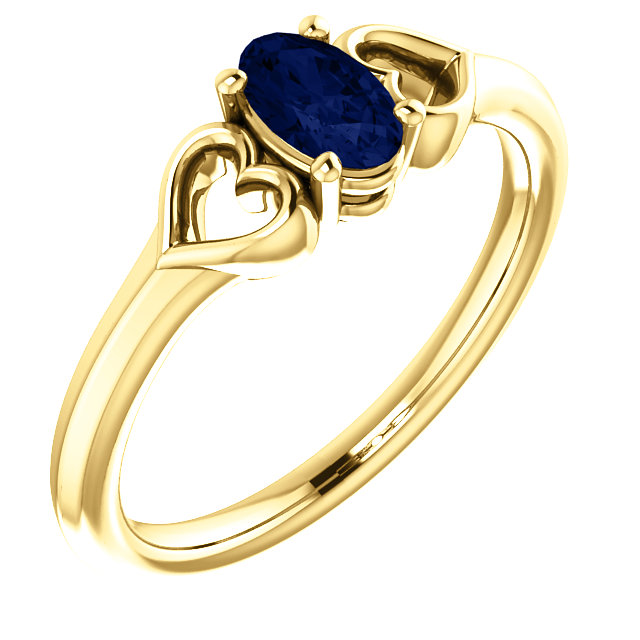 14 Karat Yellow Gold Genuine Chatham Sapphire Youth Heart Ring