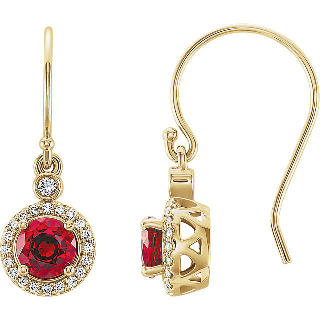 Surprise Her with  14 Karat Yellow Gold Chatham Lab Grown Ruby & 0.17 Carat Total Weight Diamond  Halo-Style Earrings