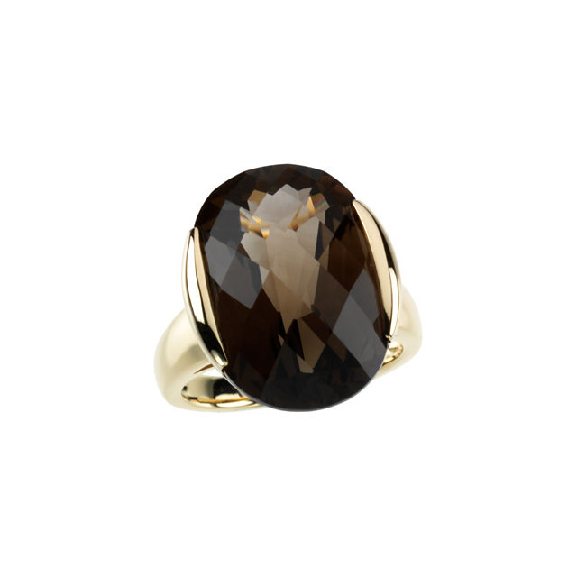 Chic 14 Karat Yellow Gold Checkerboard Smoky Quartz Design Ring
