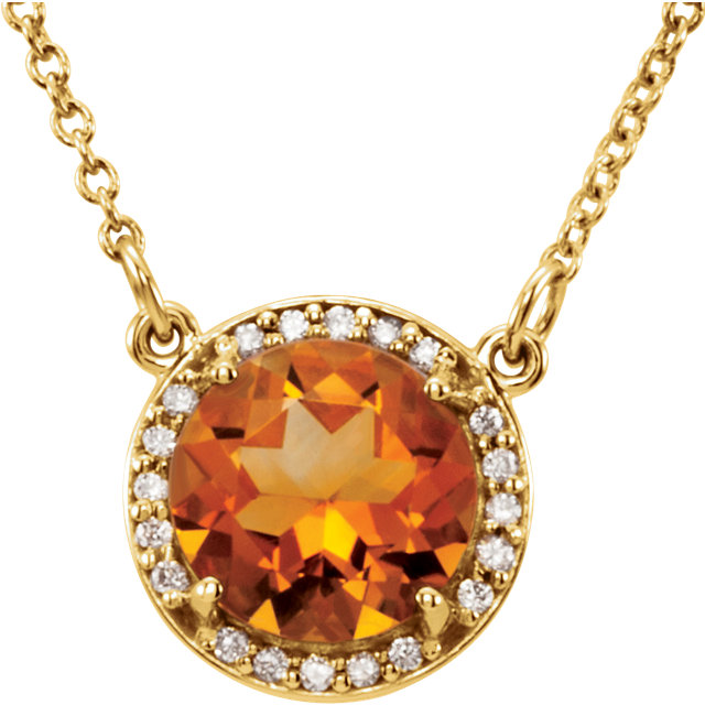 14 Karat Yellow Gold 7mm Round Citrine & .04 Carat Diamond 16