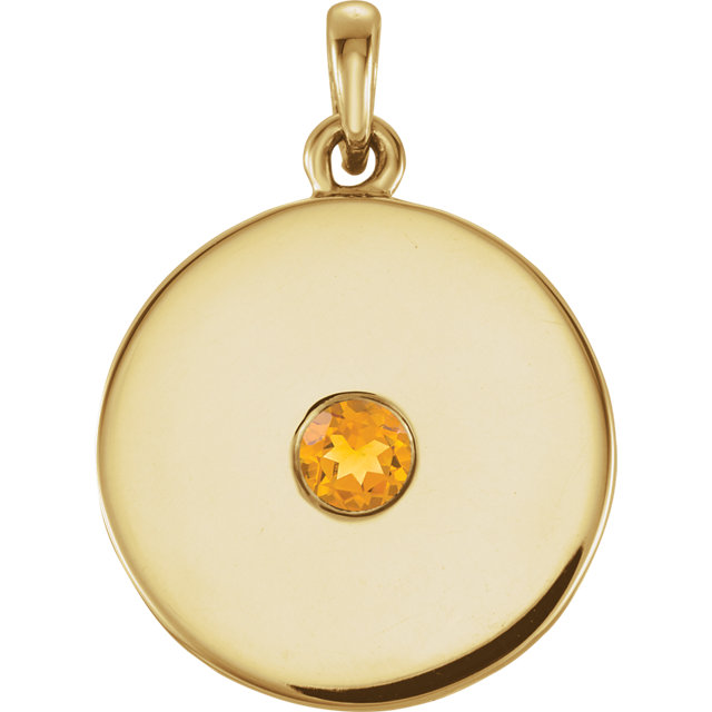 Chic 14 Karat Yellow Gold Citrine Disc Pendant