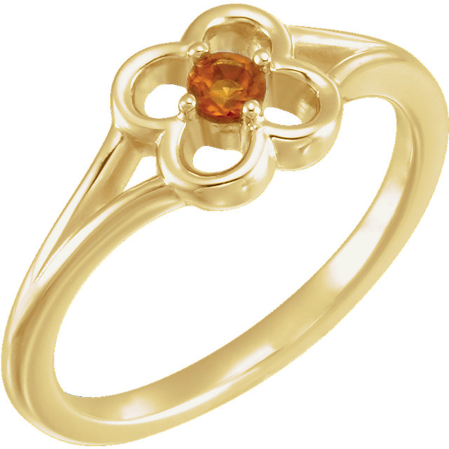 Contemporary 14 Karat Yellow Gold Citrine Flower Youth Ring