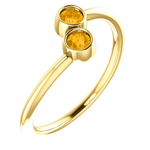 Must See 14 KT Yellow Gold Citrine Two-Stone Ring