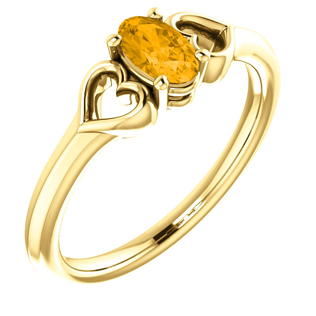 Stunning 14 Karat Yellow Gold Citrine Youth Heart Ring