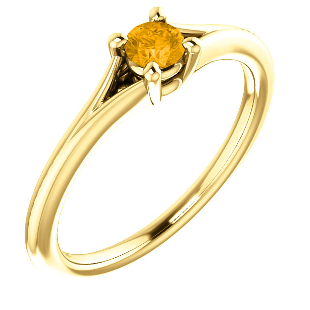Chic 14 Karat Yellow Gold Citrine Youth Ring