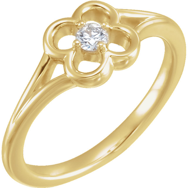 Buy Real 14 KT Yellow Gold Diamond Flower Youth Ring
