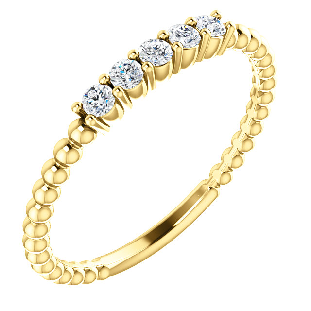 Buy Real 14 KT Yellow Gold Diamond Stackable Ring