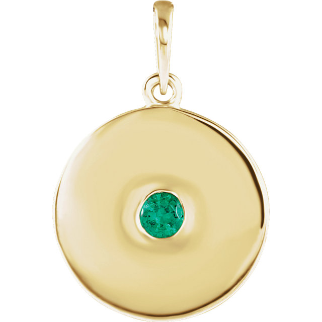 Stylish 14 Karat Yellow Gold Round Genuine Emerald Disc Pendant