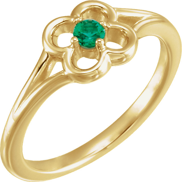 Contemporary 14 Karat Yellow Gold Emerald Flower Youth Ring