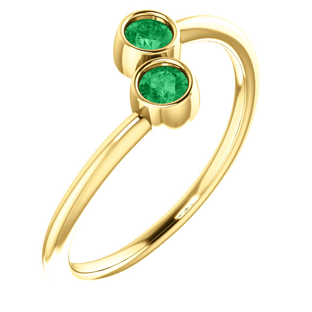 Excellent 14 Karat Yellow Gold Round Genuine Emerald Two-Stone Ring