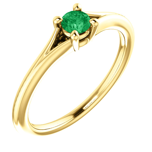 Quality 14 KT Yellow Gold Emerald Youth Ring