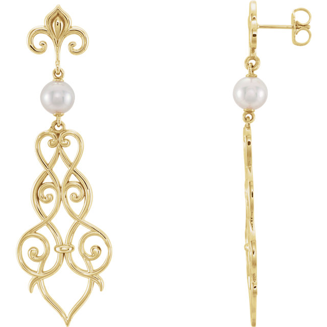 14 Karat Yellow Gold Fleur-De-Lis Scroll Akoya Cultured Pearl Earrings
