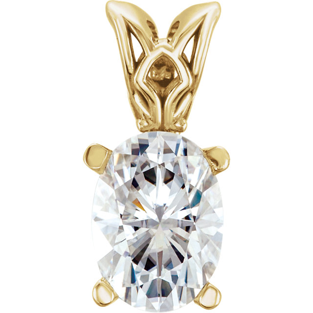Contemporary 14 Karat Yellow Gold Genuine Charles Colvard Forever One Colorless Created Moissanite Pendant