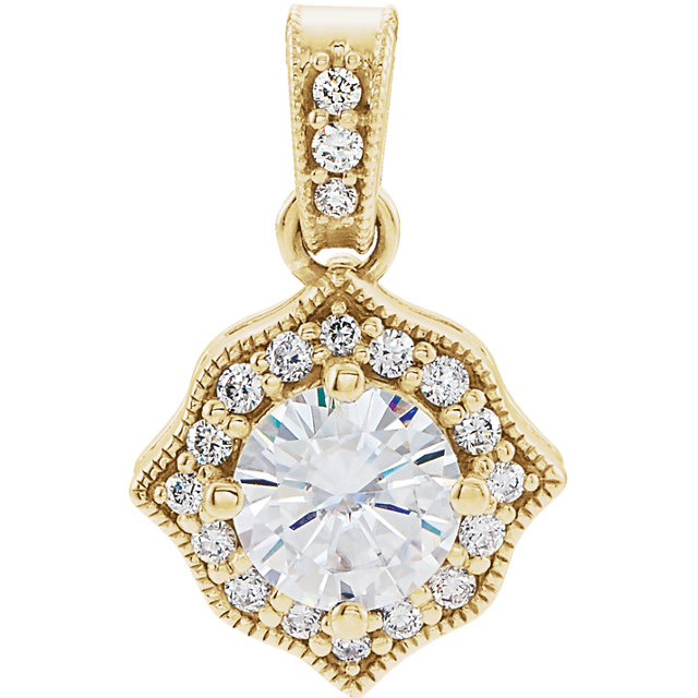 Wonderful 14 Karat Yellow Gold Genuine Charles Colvard Forever One Moissanite & 0.17 Carat Total Weight Diamond Pendant