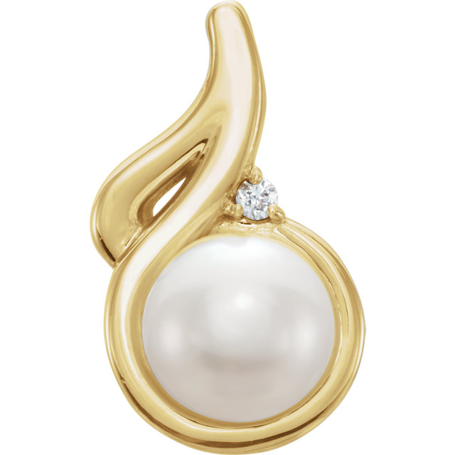 Great Deal in 14 Karat Yellow Gold Freshwater Cultured Pearl & .01 Carat Total Weight Diamond Pendant