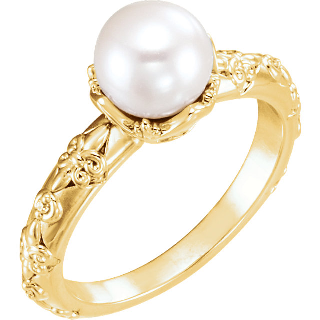 14 KT Yellow Gold Freshwater Cultured Pearl & .02 Carat TW Diamond Vintage-Inspired Ring