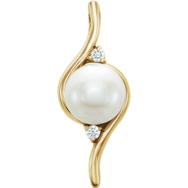 Perfect Jewelry Gift 14 Karat Yellow Gold Freshwater Cultured Pearl & .03 Carat Total Weight Diamond Pendant