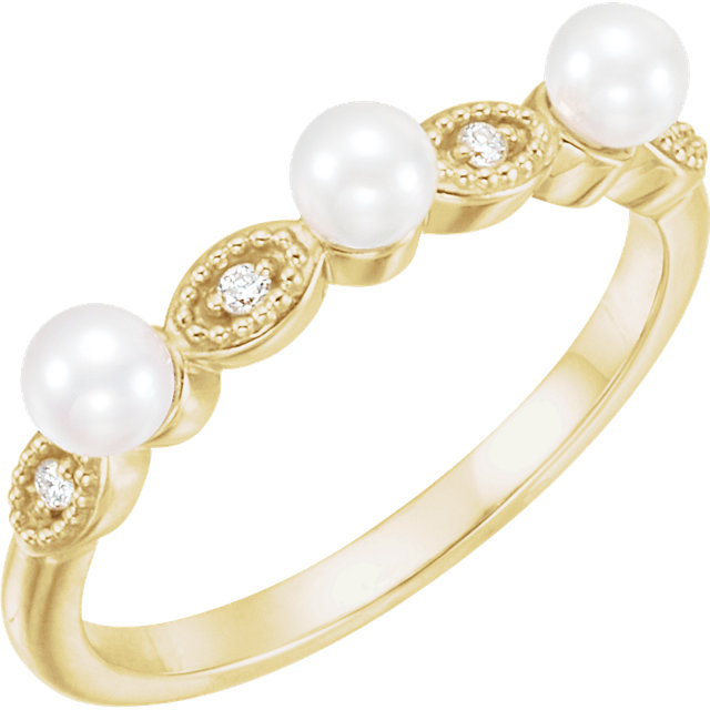 Great Buy in 14 Karat Yellow Gold Freshwater Cultured Pearl & .03 Carat Total Weight  Diamond Stackable Ring