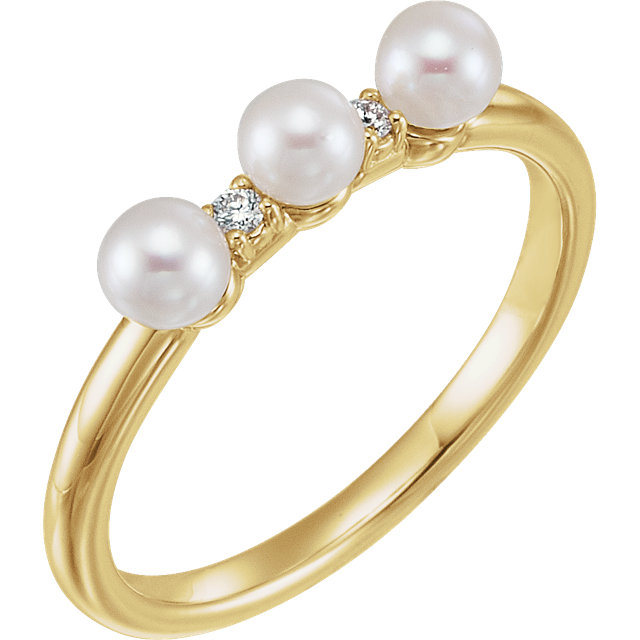 Perfect Gift Idea in 14 Karat Yellow Gold Freshwater Cultured Pearl & .03 Carat Total Weight Diamond Stackable Ring