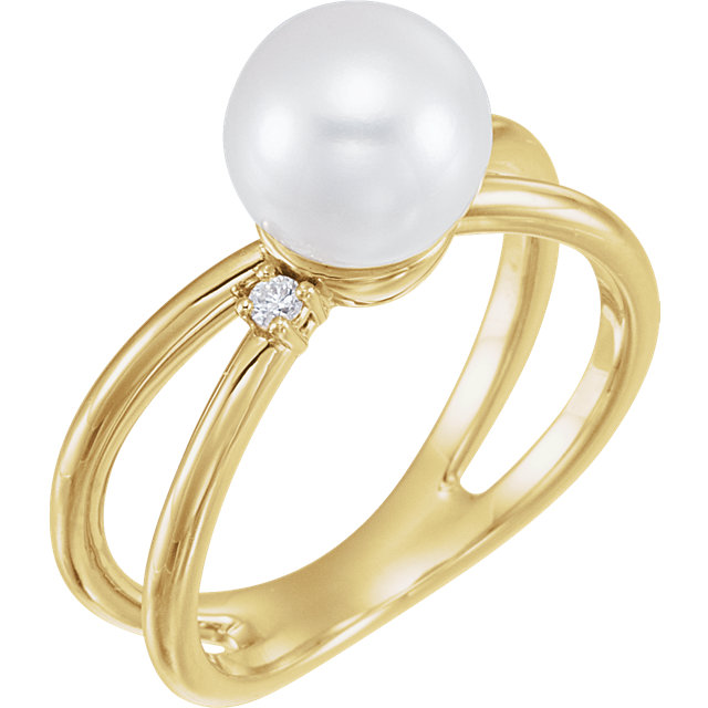 Great Deal in 14 Karat Yellow Gold Freshwater Cultured Pearl & .04 Carat Total Weight Diamond Ring