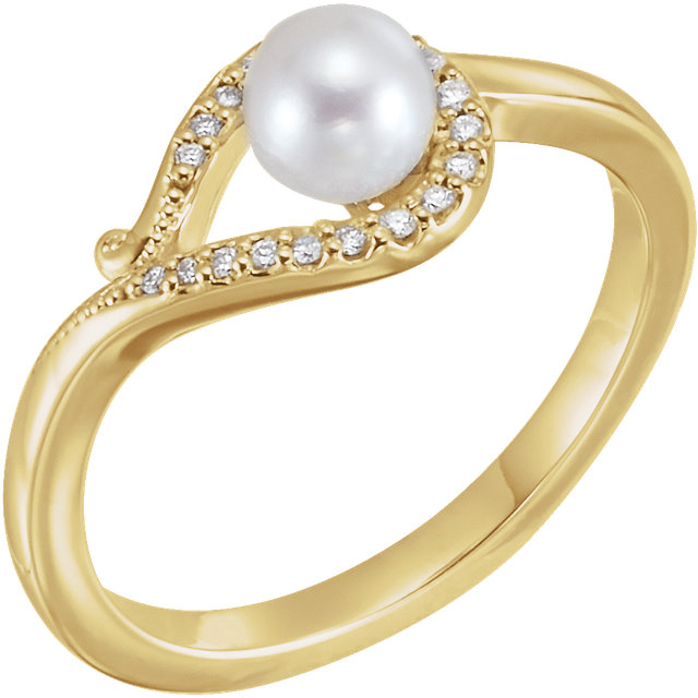 Perfect Jewelry Gift 14 Karat Yellow Gold Freshwater Cultured Pearl & .07 Carat Total Weight Diamond Bypass Ring