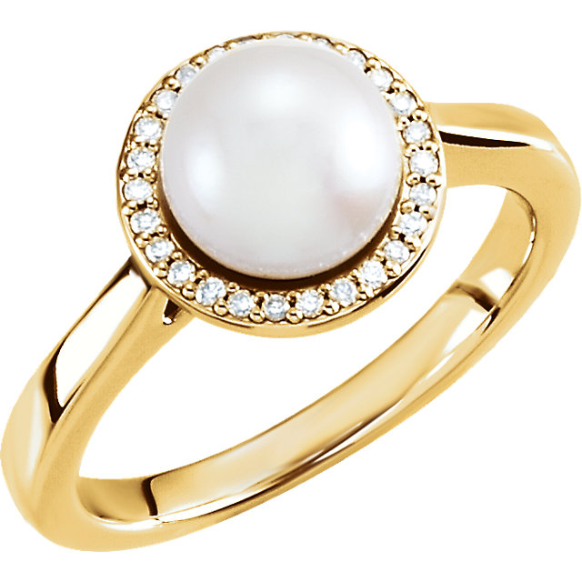 Natural 14 KT Yellow Gold Genuine Freshwater Cultured Pearl & .08 Carat TW Diamond Halo-Style Ring