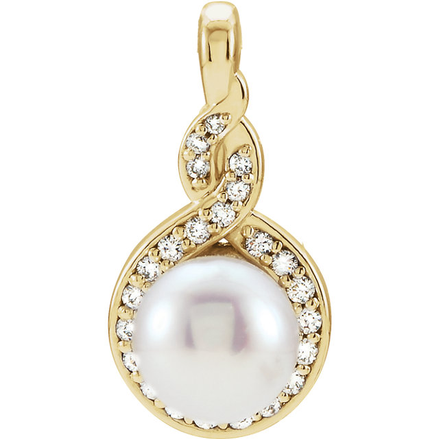 Eye Catchy 14 Karat Yellow Gold Freshwater Cultured Pearl & 0.10 Carat Total Weight Diamond Pendant