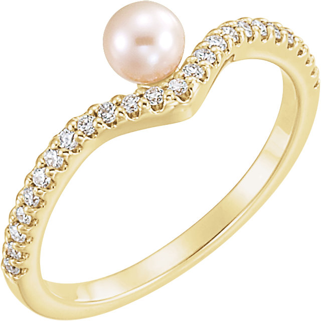 Jewelry Find 14 KT Yellow Gold Freshwater Cultured Pearl & 0.20 Carat TW Diamond Asymmetrical Ring