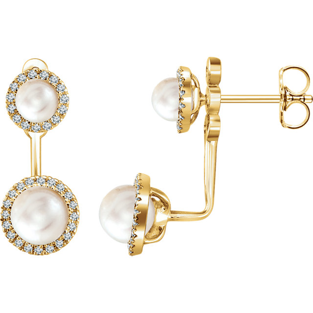 Appealing Jewelry in 14 Karat Yellow Gold Freshwater Cultured Pearl & 0.20 Carat Total Weight Diamond Halo-Style Earrings
