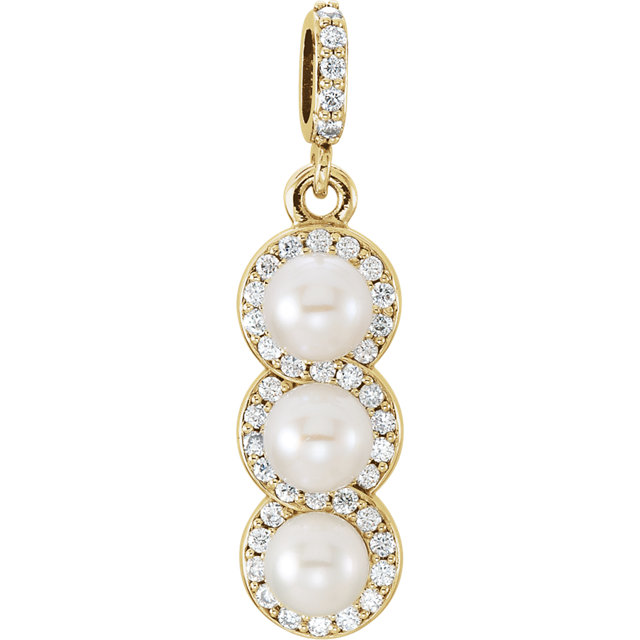 Surprise Her with  14 Karat Yellow Gold Freshwater Cultured Pearl & 0.20 Carat Total Weight Diamond Pendant