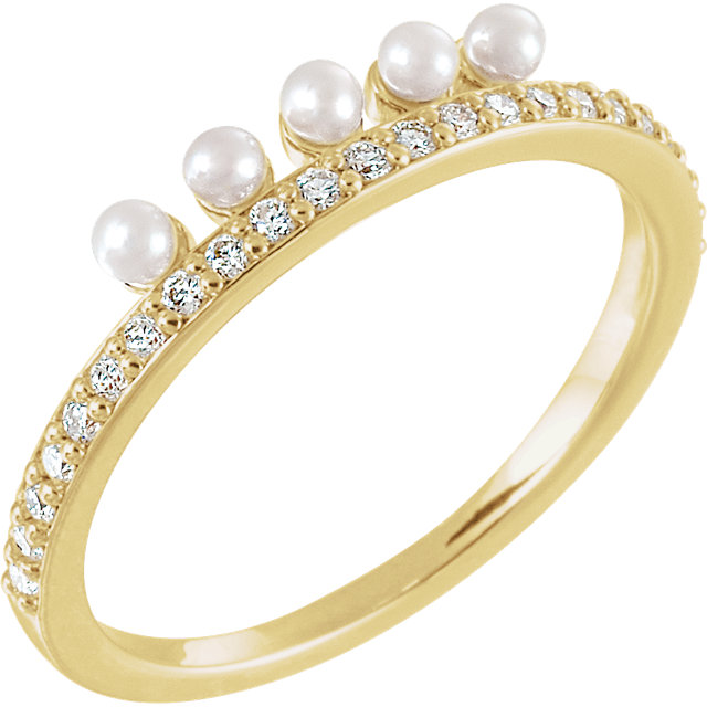 Eye Catchy 14 Karat Yellow Gold Freshwater Cultured Pearl & 0.20 Carat Total Weight Diamond Stackable Ring