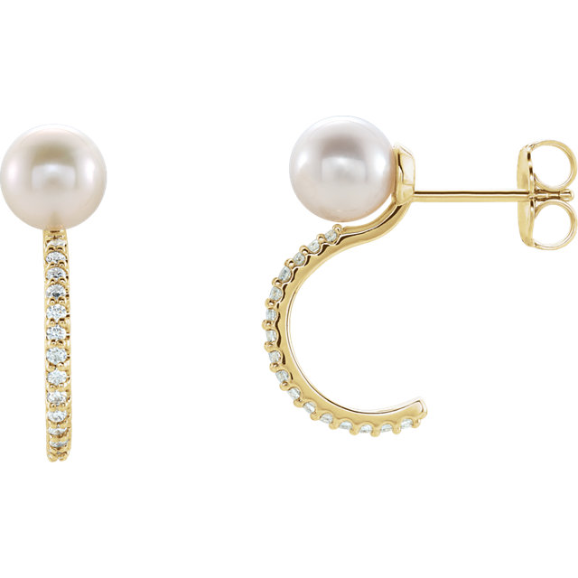 Magnificent 14 Karat Yellow Gold Genuine Freshwater Cultured Pearl & 0.17 Carat Total Weight Diamond J-Hoop Earrings